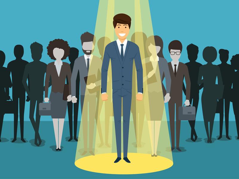 Businessman in spotlight Human resource recruitment success employee illustration appointment notice new job