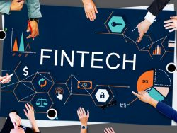 Fintech Investment - group of people in meeting with abstract charts and graphs on table