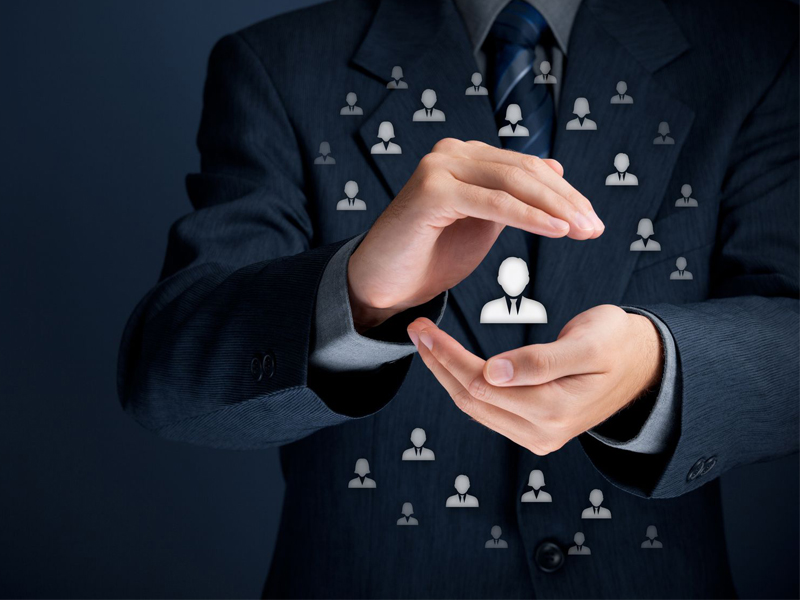 Protecting employees selecting personnel human resources businessman promotion selection new job