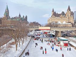 Rideau Canal skating rink, Parliament of Canada in winter