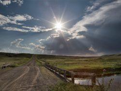 Saskatchewan field with old bridge