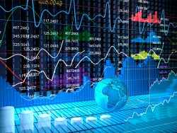 Stock exchange board with abstract background