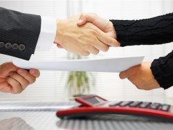 handshaking and exchanging contract documents