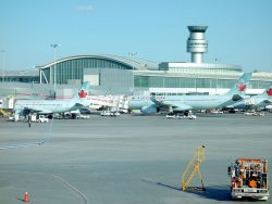 Tarmac and planes at the Pearson Airport in Toronto, Canada