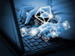 female hands sending email