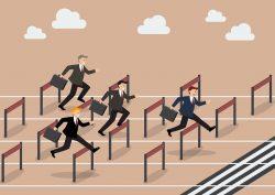 businessman race hurdle competition