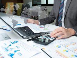 Businessman analyzing report