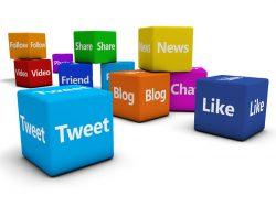 eb and internet concept with social media and social network signs and words