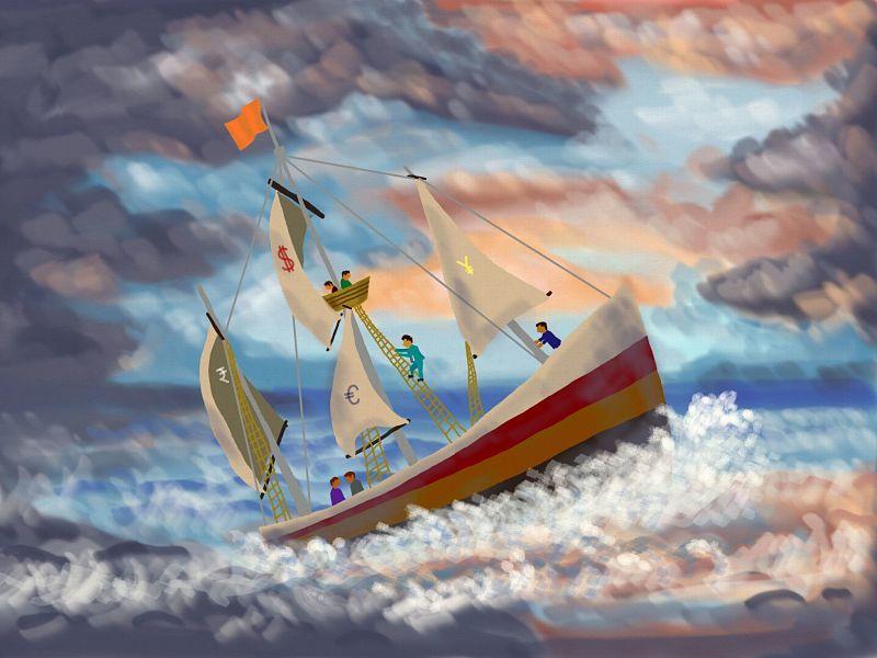 economc crisis ship on storm-tossed sea