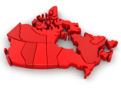 Canada, provinces, map, red