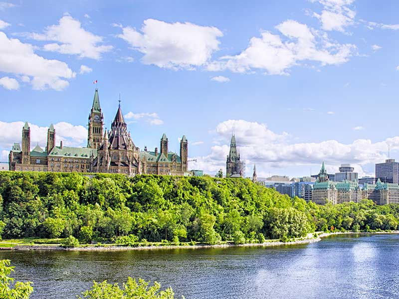 Parliament buildings on a sunny day