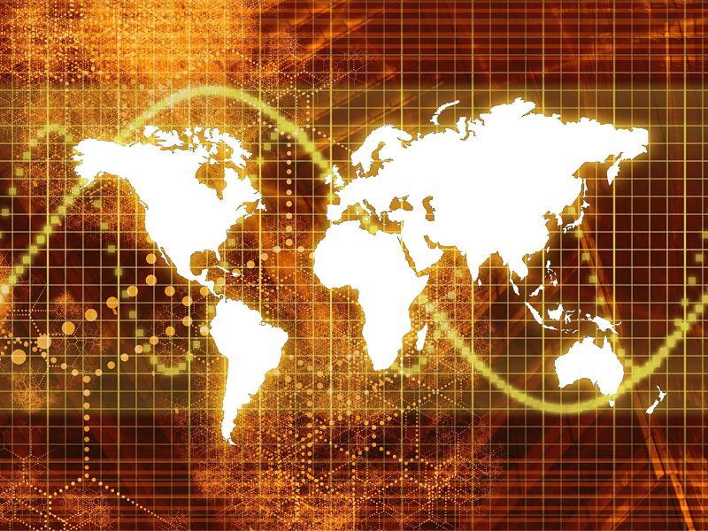 3679756 - orange stock market world economy abstract background