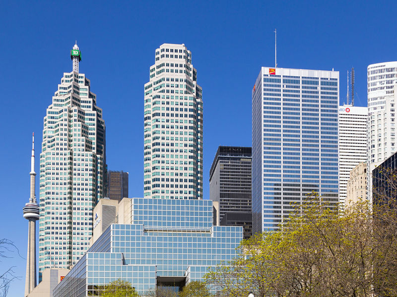 TD, CIBC, BMO and other skyscrapers in Toronto in spring