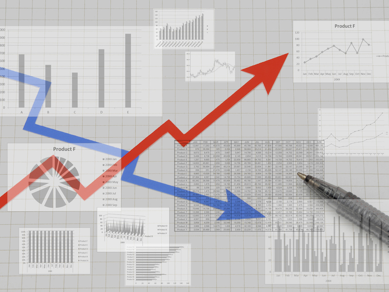 Business chart with rising arrow and falling arrow
