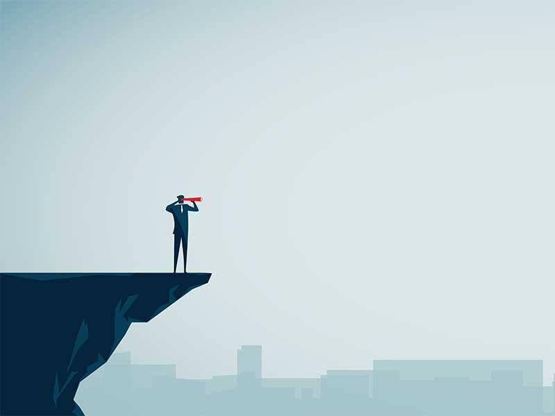 a man on a precipice