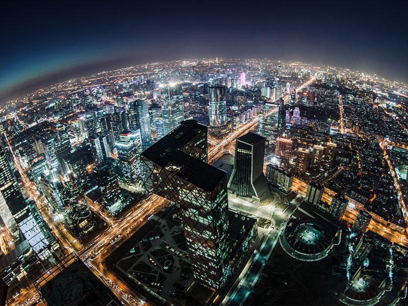 Fisheye and Aerial View of Beijing Skyline at Night