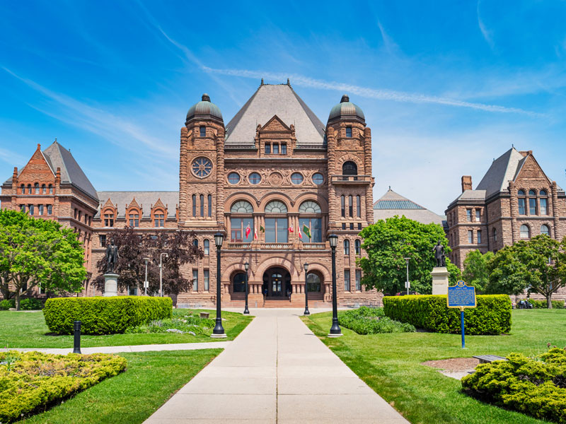 Ontario Legislative Building at Queens Park in Toronto Ontario